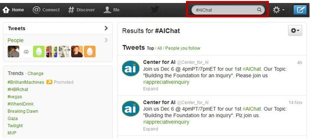 Using Twitter for #AIChat